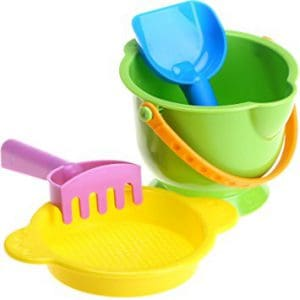 Best beach toys, best beaches, beach vacation, beach travel destination, best toys for the beach, Hape Kid's Beach Toy Basics Including Bucket Sifter, Rake and Shovel Set