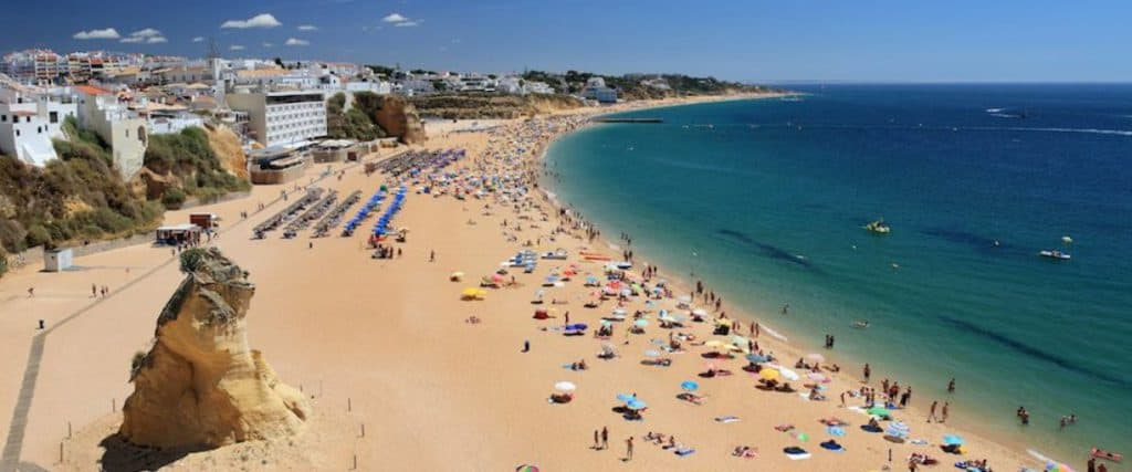 Praia de Albufeira Beach, Portugal, best beaches of Portugal, Portugal beaches, best Portugal beaches, beach travel destinations, beach vacation