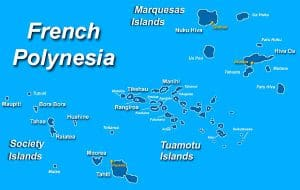 French Polynesia, Society Islands map, Society Islands beaches