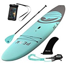 Peak 10'5 Escape Soft Top Aqua Stand Up Paddle Board, SUP paddleboarding, SUP paddle boarding, stand up paddle boarding, inflatable SUP paddle boards, hard SUP paddle boards, best water sports for the beach, beach vacation
