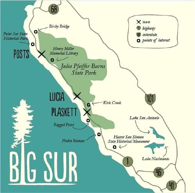 Big Sur California - Beach Travel Destinations Big Sur California Map on