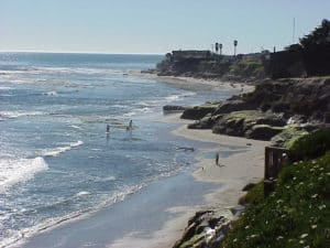 Pleasure Point Beach, Capitola, a seaside community on the north shore of Monterey Bay, claims to be California's oldest beach resort.