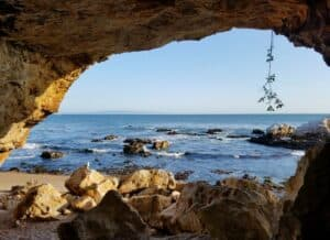 Cave Landing Beach, just off Highway 1 on California's central coast is a road that takes you through a lush oak valley lined with transformative spas featuring natural, mineral hot springs, world-class massage, yoga instruction, and sense therapies.